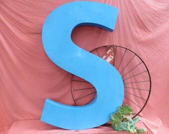 """Giant Vintage Marquee Sign Letter Capital 'S': 42"""" Light Blue Steel Neon Channel Wall Hanging Initial - Industrial Advertising Metal Salvage"""