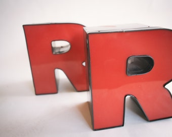 Vintage Marquee Sign Letter Capital 'R': Large Red Wall Hanging Initial - Reclaimed Industrial Neon Channel Advertising Salvage