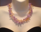 SIMPLE BEAUTY-Chunky necklace, lavender ametrine, yellow gitrine, double strand, handmade, natural gemstone, beaded