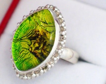 sz 9.75 Chunky limon mix color foil art glass ring marquise cut solitaire cabochon 925 sterling silver bead setting