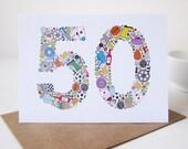 Mens Things 50th Birthday Card - Birthday Card - Birthday for Him - Dad Birthday - Father Birthday