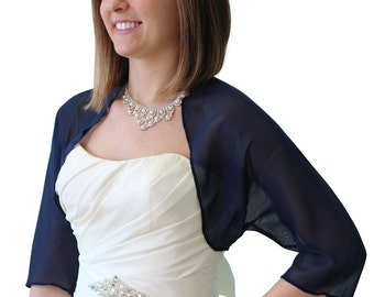 Navy Blue Chiffon Jacket, Navy Bridal Bolero, Blue Chiffon Shrug, 890-NBLUE