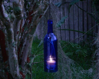 Wine Bottle Candle Holder Indoor Outdoor Lighting Hanging Lantern Cobalt Blue
