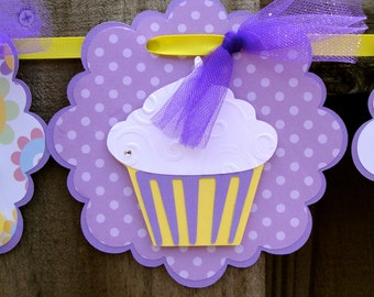 Cupcake Happy Birthday Banner with Purple and Yellow