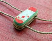 Self Tie Recycled Skateboard Deck Wooden Bead  Bracelet Anklet Charm on Hemp No13