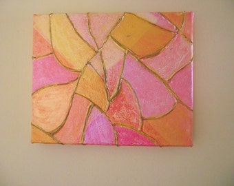 8 x 10 PAINTING STAINED GLASS Yellow Orange Pink Gold Salmon Abstract Art on Canvas Made to Order Mosaic Tile Effect