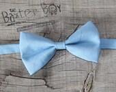 Solid Cornflower Blue Bow Tie for little boys - wedding, ring bearer, little boy, accessory