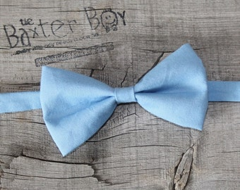 Solid Cornflower Blue Bow Tie for little boys - wedding, ring bearer, little boy, accessory