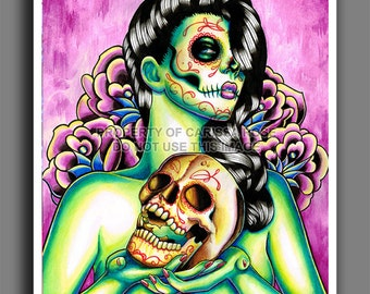 Day of the Dead Tattoo Art Skull Girl PIn Up Woman Lady Candy Skull Pinup Flash Poster Large Wall Art Memories 18x24 inch signed art print