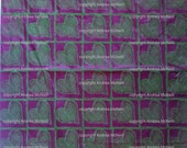 Large sheet burgundy tissue paper handprinted in green heart linoprint