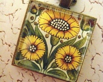 William Morris Era Sunflowers Glass Pendant Necklace Arts and Crafts Mission Craftsman Style Bungalow Home Decor Gift Ideas