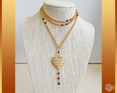 """32"""" Necklace Cappuccino Ceramic Striated One Inch Heart Dangle Pendant AAA 4mm Faceted Tiger Eye Rounds Long Gold Curb Chain Can Be Doubled"""