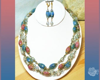 """60"""" Wrap Necklace Pink Blue Ceramic Rice Beads Fancy Pewter Beadcaps Clear AB Czech Crystals Mixed Metal Bead Chain And/Or Leverback Earring"""