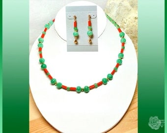 "16.5"" Necklace Green Aventurine Rounds Orange Red Jade Tubes Peas and Carrots Choker Stones Magnetic Clasp And/Or Matched Gold Post Earrings"