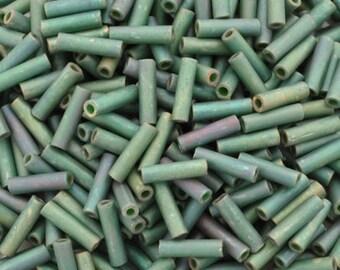 Seed Beads-6mm Bugle-2031 Matte Metallic Sage Green Luster-Miyuki-12 Grams