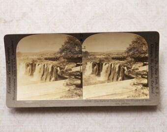 vintage stereocard photograph : keystone stereo card falls of juanacatlan jalisco mexico paper ephemera mixed media