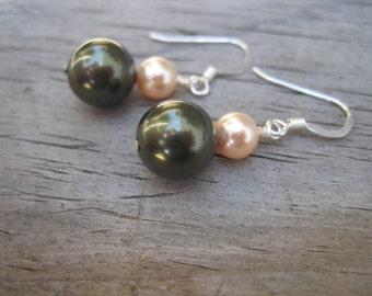 Moss Green Pearl Earrings