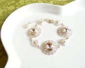 Old Hollywood glamour bridal jewelry, bling wedding bracelets, bridal jewelry set, vintage style jewelry, costume jewellery. SOPHIA