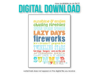 Summer Rules Subway Wall Art Decor . Summertime Beach Vacation Bucket List . Fireworks . 8x10 // Aqua Turquoise Red Yellow Orange Print
