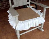 Rustic Burlap Nursery Porch Rocker Rocking Chair Seat Slip Cover - Antique White Ruffled Edge with Bow Ties