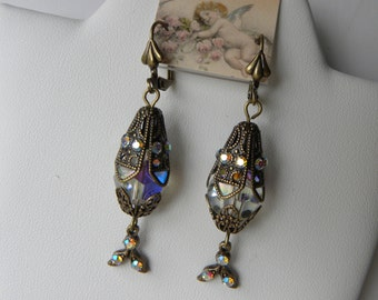 Victorian Earrings Tudor Earrings Faberge Egg Filigree Cage French Victorian Marie Antoinette Gothic Dangle Earrings, ©2011DonnaJameson