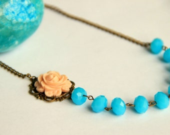Turquoise beaded adjustable necklace with pale pink rose antique brass chain necklace gift for her necklace, wedding necklace, bridesmaid