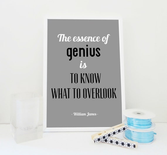 Typography Quote Print The Essence of Genious Archival Famous Quote Art Print