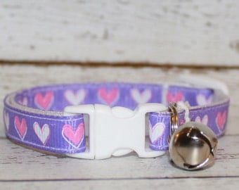 Purple Hearts Cat/Kitten Collar- Adjustable/Breakaway