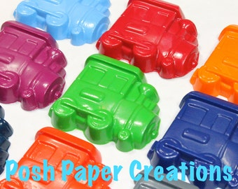30 train crayons - individually wrapped in cello bag tied with ribbon - choose your colors