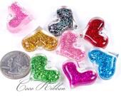 28mm Mixed Lot Glitter Color Heart Resin Pendants - 12/24/50pcs