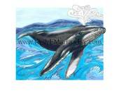 Humpback Whale Illustration - Giclee Art Print, Ocean, Marine Life, Beach, Coastal, Home Decor, Children's Room,  Wall Art, Whales, Blue