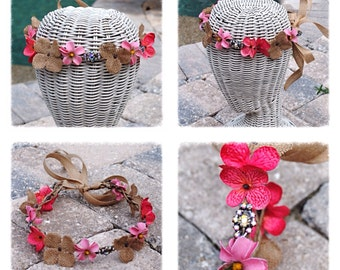Burlap and Dark Pink Floral Vine Wedding Bridel Boho Headband Crown
