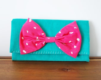 Teal Corduroy Trifold Fabric Wallet with Bright Pink Bow
