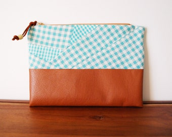 Aqua Gingham Cotton and Cognac Vegan Leather Zippered Pouch