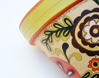 """Hand Painted Terracotta Pot- 6 Inch """"Bountiful Harvest"""" Made to Order"""