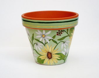 """Hand Painted Flower Pot, """"Sage Sunflowers"""" 6 Inch Terracotta-Made to Order"""