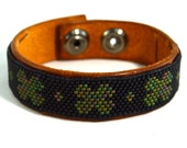 Mens Irish Clover Leather Bracelet