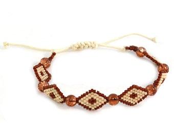 Bracelet in Brown and Tan Diamonds Beaded Wrap Adjustable Closure