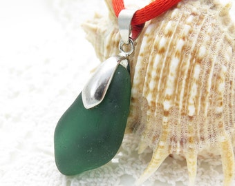 Dark Green Sea Glass Pendant - Beach Glass Jewelry Surf Tumbled- Special Necklace Perfect Gift