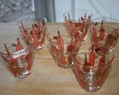 Set of six vintage collectible shot glasses