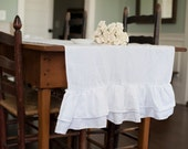 Ruffled Linen Table Runner- Double Ruffled-Extra Wide