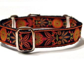 Martingale Collar or Buckle Dog Collar - Pinwheel Jacquard in Orange & Black - 1 Inch