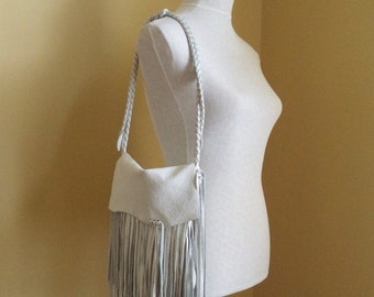 white leather handbag, shoulder purse, messenger with fringe, by Tuscada. Made to order.