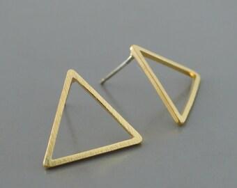 Gold Earrings - Geometric Earrings - Triangle Earrings - Stud Earrings - Small earrings