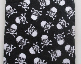Skull and Crossbones black and white eyeglass and sunglass case