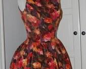 On Reserve - 50s Floral Velvet Jonny Herbert Dress, Full Skirt, Low Back, Mad Men, Party, Wedding, Size Small