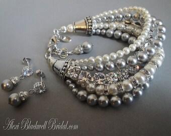 Gray Pearl Bridal Bracelet Set in Light Grey Swarovski Pearls with rhinestone chain Gray Cream Ivory White or choice of color wedding bridal