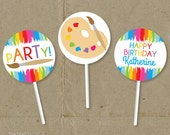 Art Painting Birthday Party Cupcake Toppers Favor Tags Decorations - Printable DIY