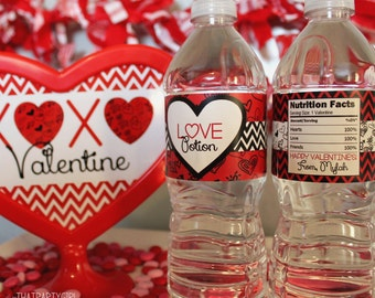 Valentine LOVE Potion - Valentine's Day Party Favors Water Bottle Labels - DIY