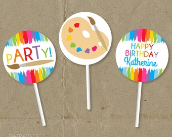 Art Party, Art Birthday Party, Art Party Cupcake Toppers, Art Party Favors, Art Party Tags, Painting Party, Painting Birthday Party, Cupcake